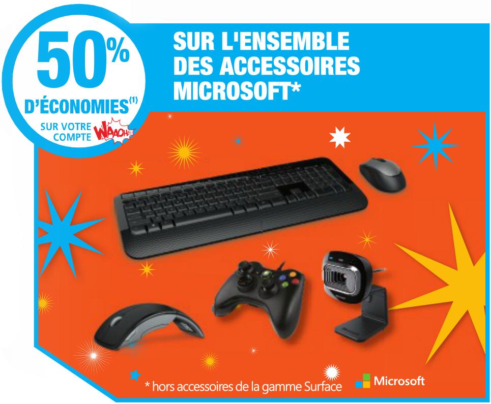 -50% sur la carte Waaoh sur les accesoires Microsoft en ligne et en magasin