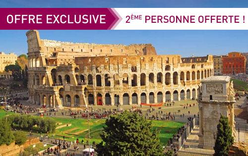 La deuxième personne offerte sur une sélection de séjours - Ex : Séjour 4 jours à Rome en 4* pour 2