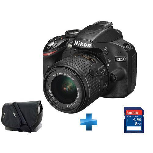 Appareil photo Reflex Nikon D3200 + Objectif DX 18-55 VRII + Sacoche Nikon + carte SDHC 8 Go