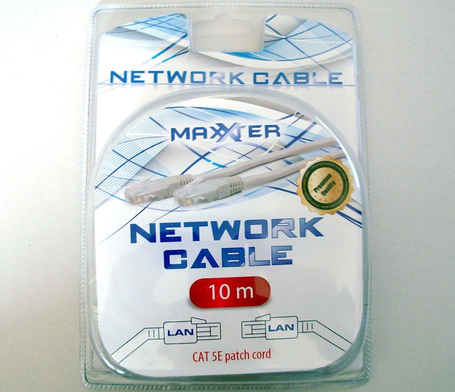 Cable de 10m RJ45 Ethernet CAT.5E connecteur plaqué or