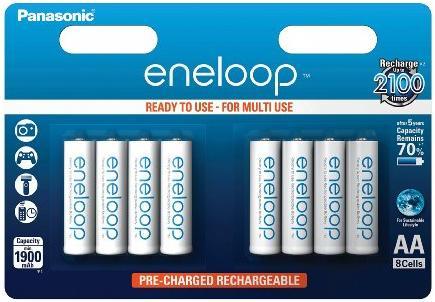 8 Piles rechargeables Panasonic Eneloop AA - 1900mAh