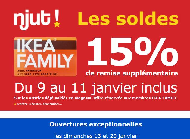 15 % de remise supplémentaire sur les soldes (Ikea family)