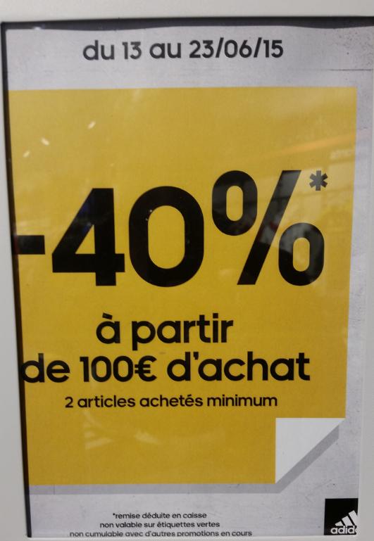 40% de réduction sur l'outlet
