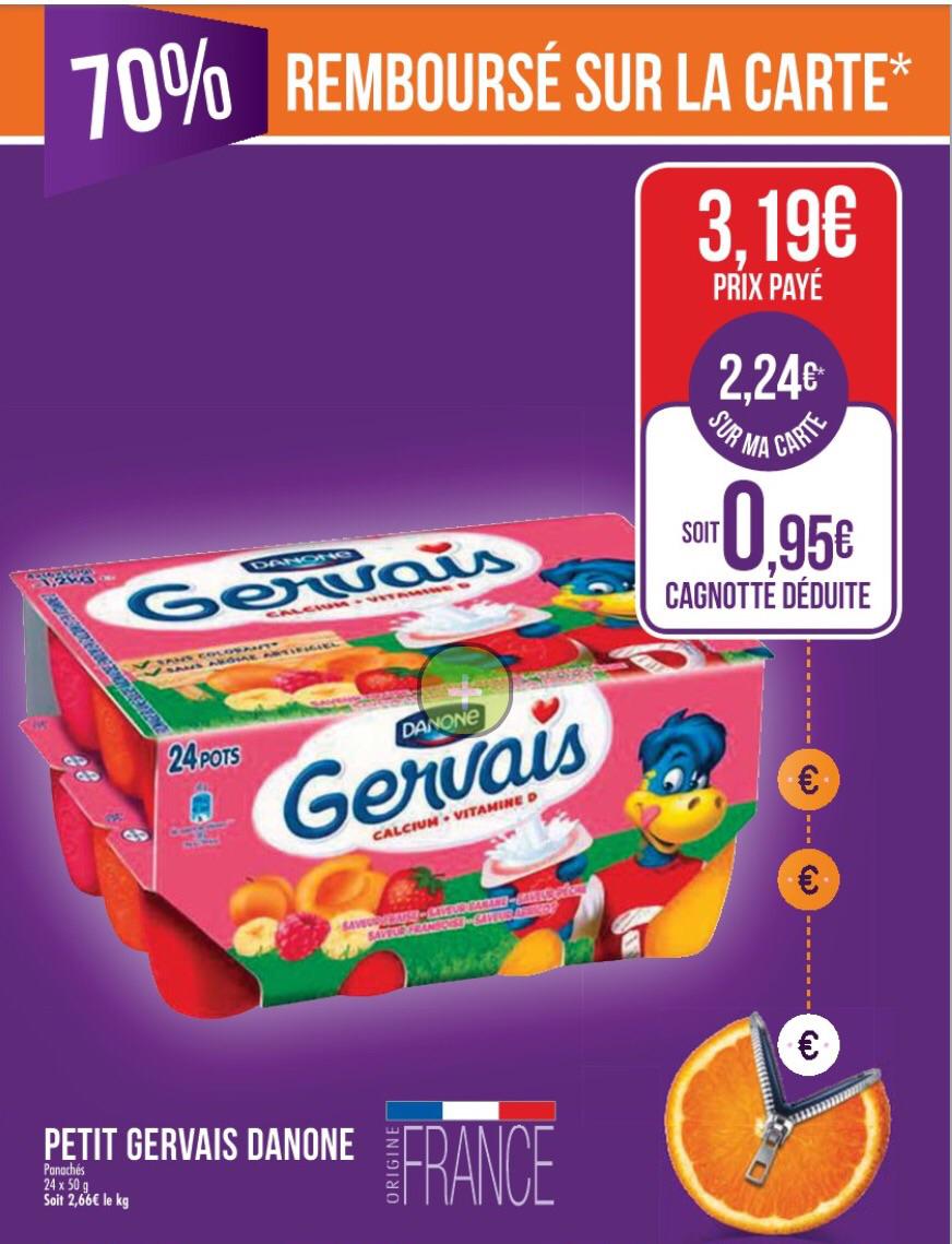 Danone Petits Gervais - 24 pots (avec 2€24 sur la carte + 0€40 en BDR)