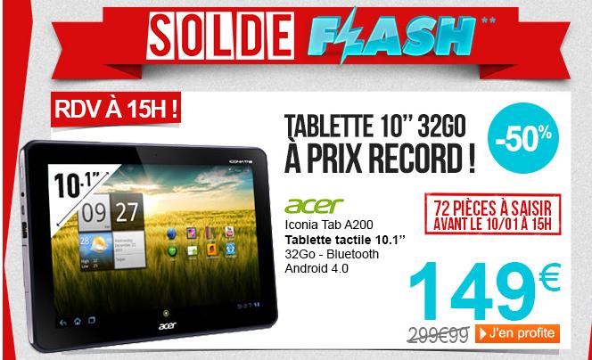 A partir de 15h : Tablette Iconia Tab ACER A200 32 Go