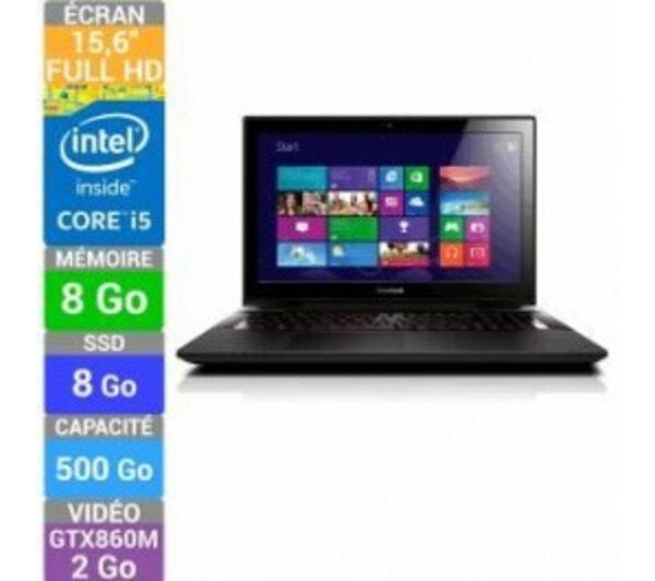 PC portable gamer Lenovo Y50-70 - Core i5-4210H, 8Go RAM, 500Go + 8Go SSHD, GTX 860M 2Go (avec ODR TVA)