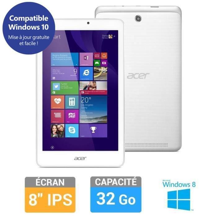 """Tablette 8"""" Acer Iconia Tab 8 - 1 Go de ram, 32 Go- W1-810-15NY - Blanche (via ODR de 20€)"""