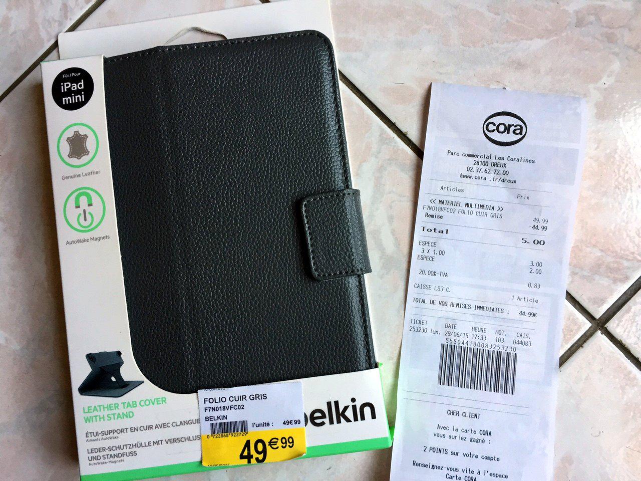 Housse folio cuir Belkin pour iPad Mini avec Autowake magnet