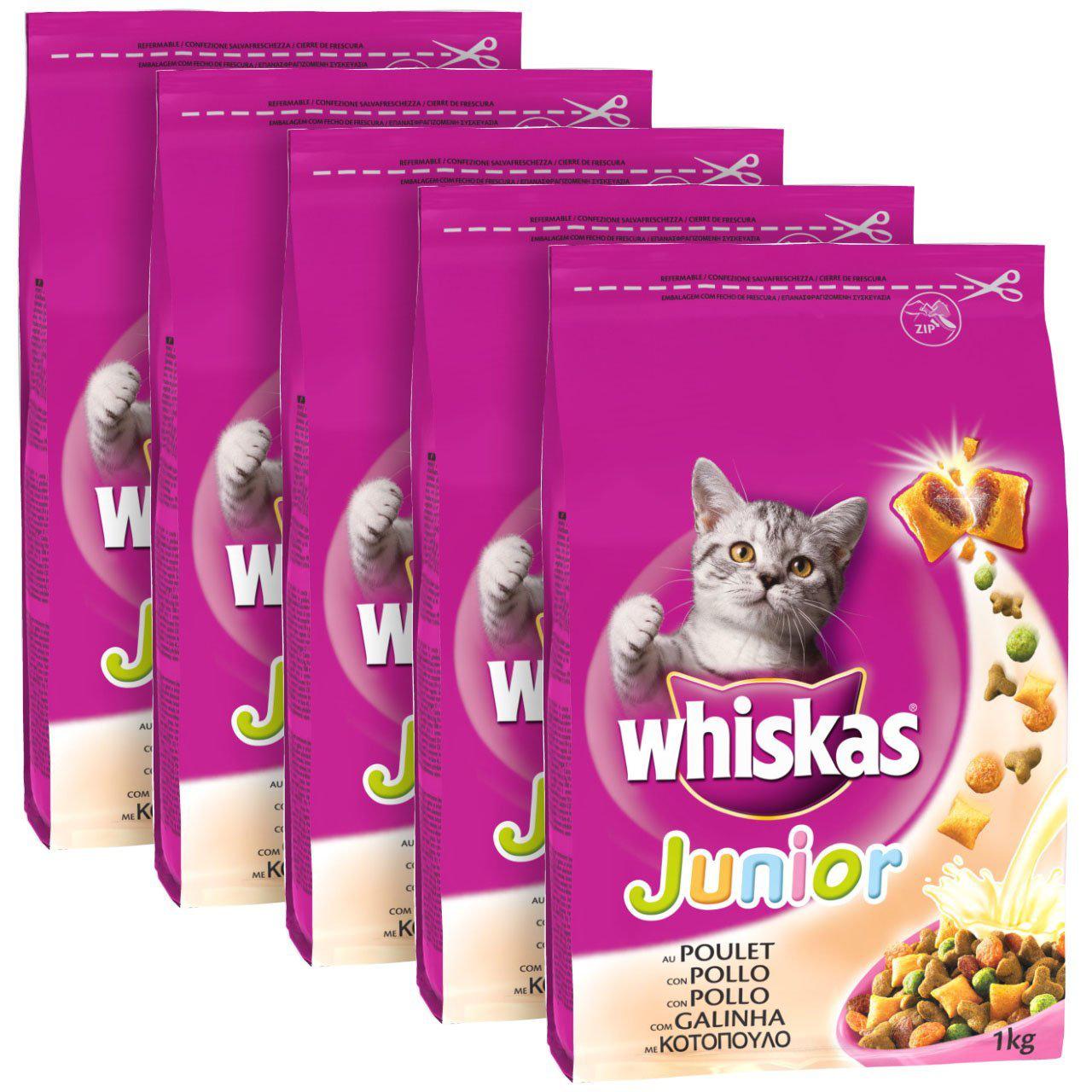 Croquettes pour chats Whiskas Junior au poulet - 5 x 1 Kg