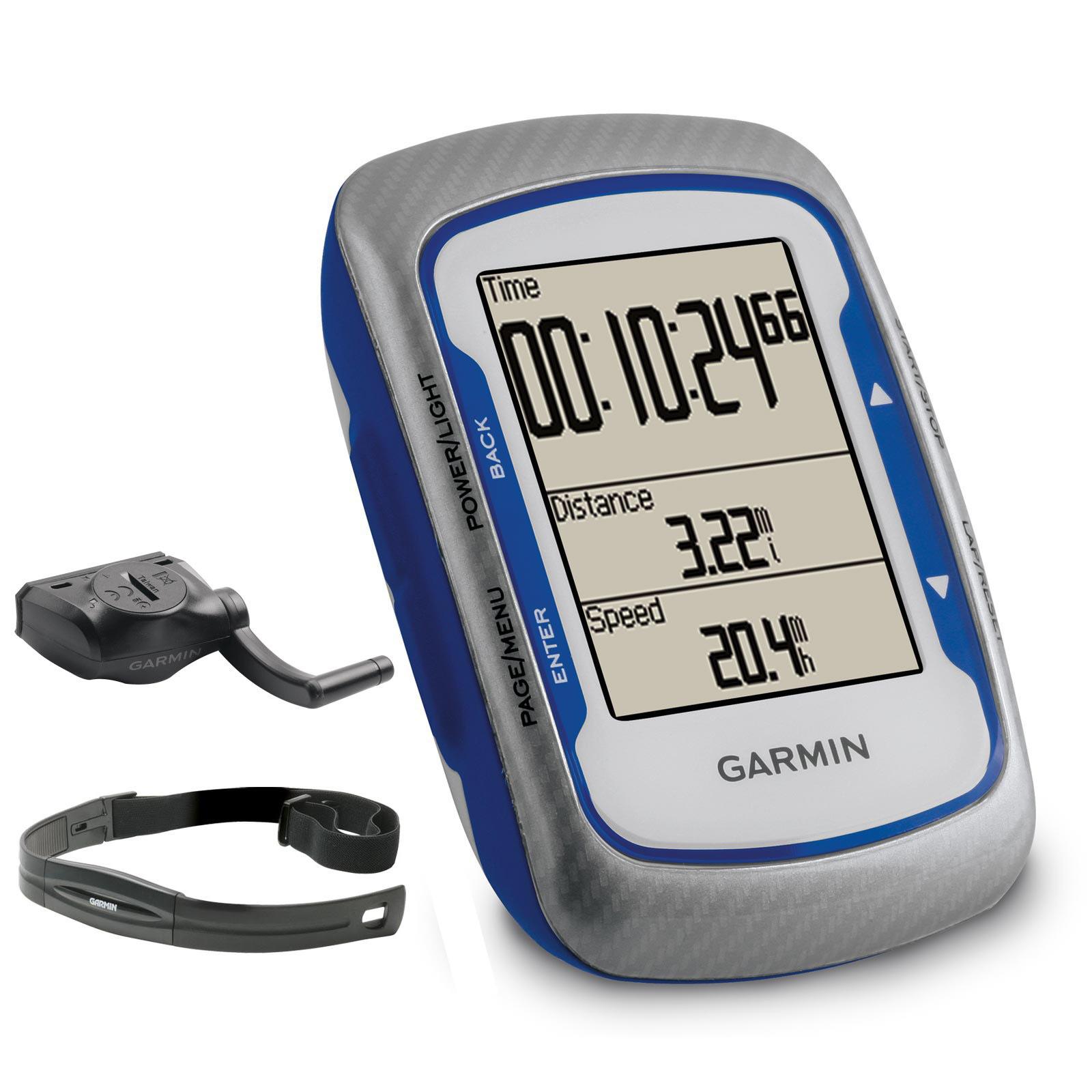GPS Vélo Garmin Edge 500 + Ceinture cardiofréquencemètre et capteur cadence étanche USB - Bleu