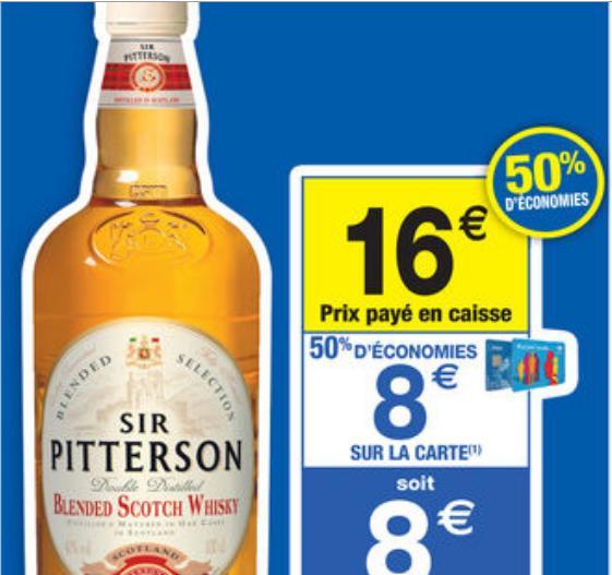 Whisky Sir Pitterson 1 Litre (avec 50% sur la carte)