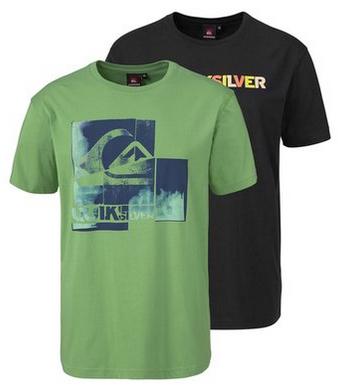 Lot de 2 T-shirts Quiksilver + un Tshirt uni ras-de-cou manches courtes en coton homme