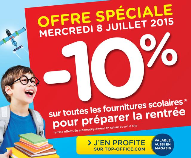 10% de réduction sur toutes les fournitures scolaires