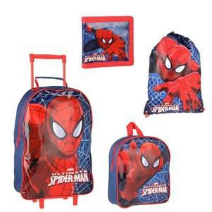 Set de 4 pièces Spiderman (sac à roulettes,sac à dos goûter, sac gym et d'un porte-monnaie)