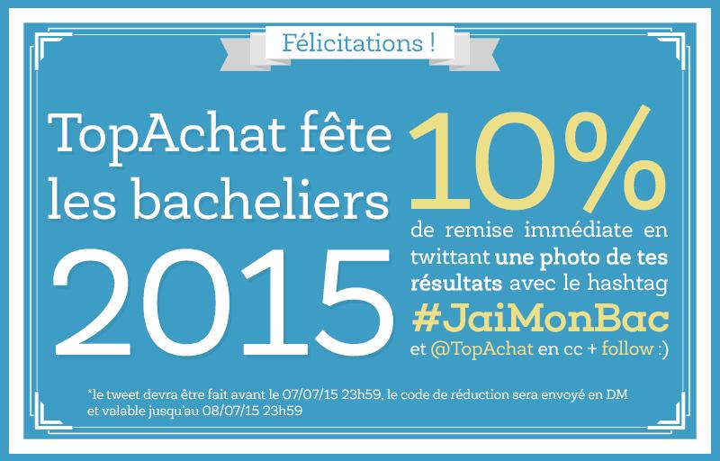 10% de réduction sur tout le site pour les bacheliers 2015