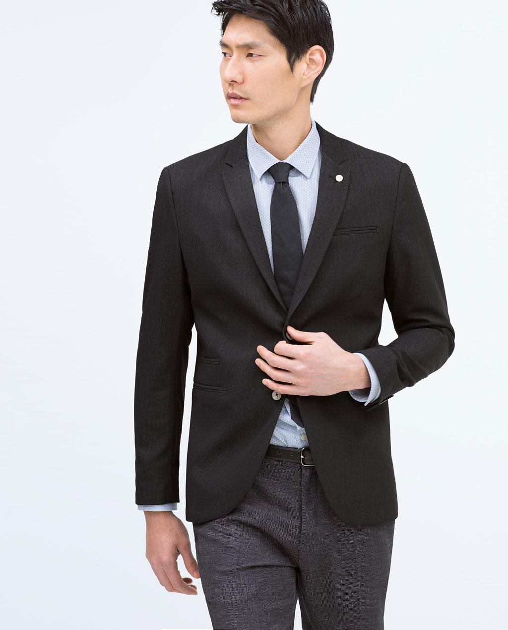 Blazer Zara style denim broche revers Indigo Foncé