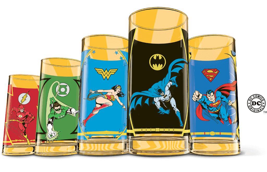 Collection complete de 5  Verres quick Heros DC comics