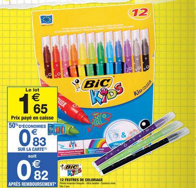 50% crédités sur la carte sur une sélection de fournitures scolaires - Ex: Pack de 12 feutres Bic Kids