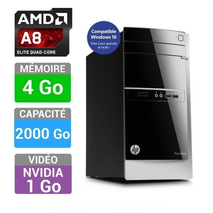 PC de bureau HP Pavilion 500-542NF - AMD A8-6500, 4 Go RAM, 2 To, GeForce 705M (avec ODR 50€)