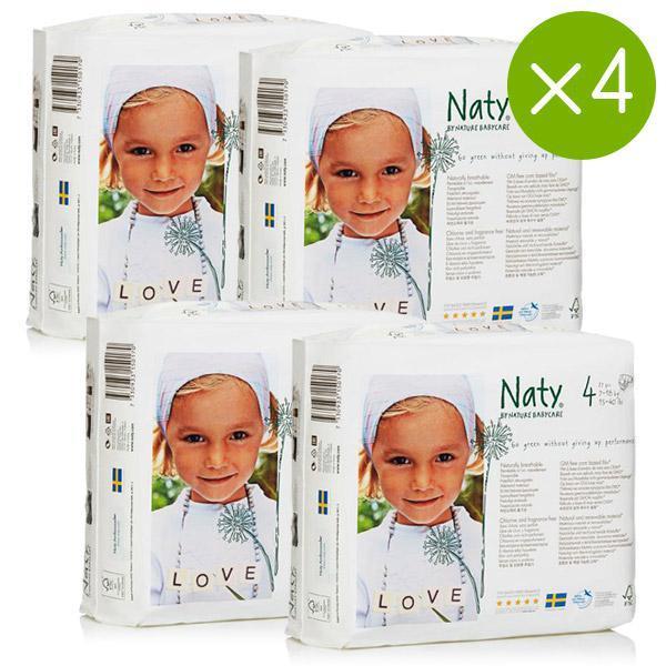 Couches écologiques Naty (Taille 1 à 6) en promotion - Ex : Lot de 4 paquets de 27 couches (taille 4)