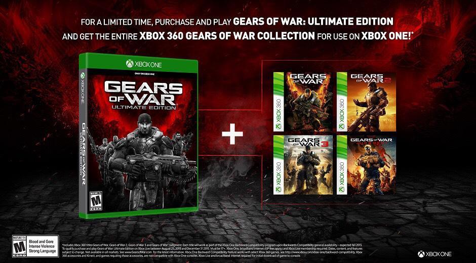 Jeu Gears of War Ultimate Edition acheté =  Les jeux Gears of War 1 à Judgment offerts sur Xbox 360