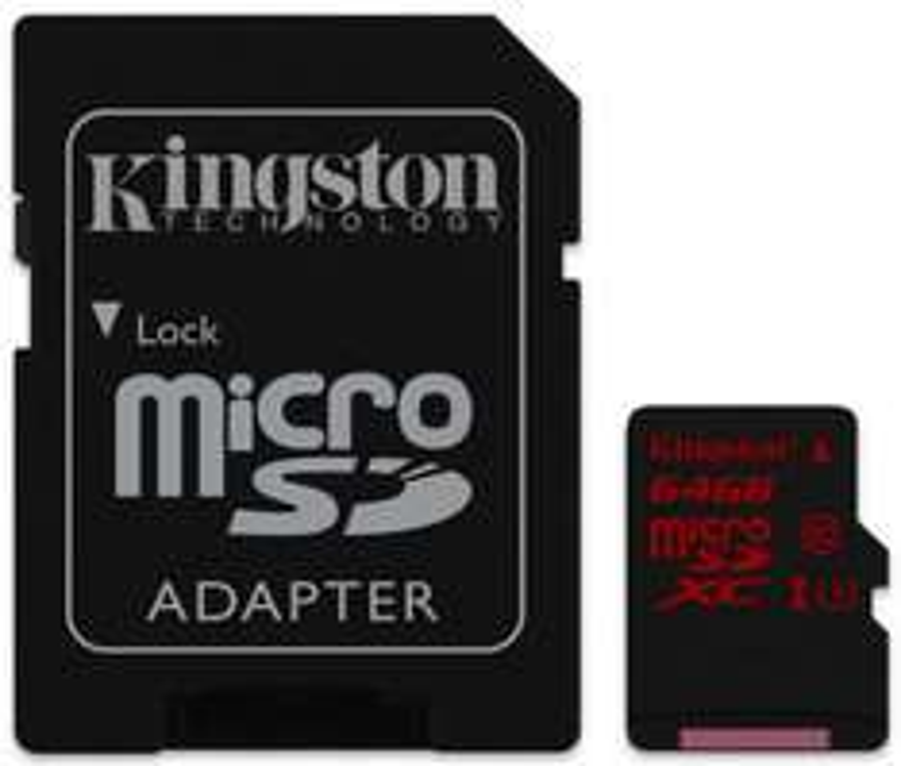 Carte Micro SDHC U3  Kingston (avec adaptateur) - 64 Go