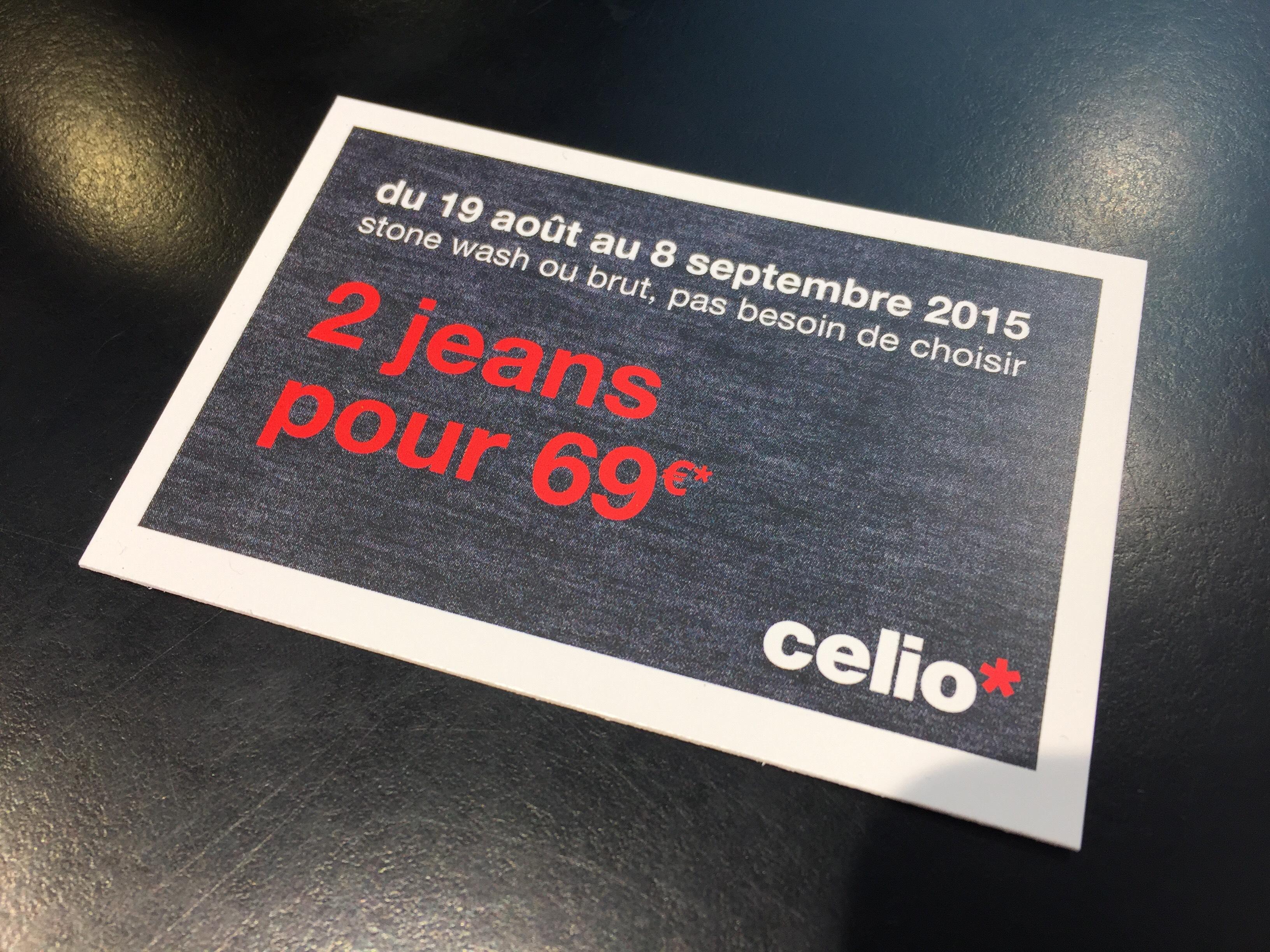 2 jeans sur toute la collection Celio en magasin et en ligne