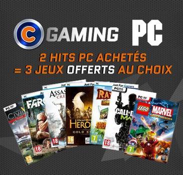2 jeux PC achetés = 3 jeux PC offerts parmi une sélection