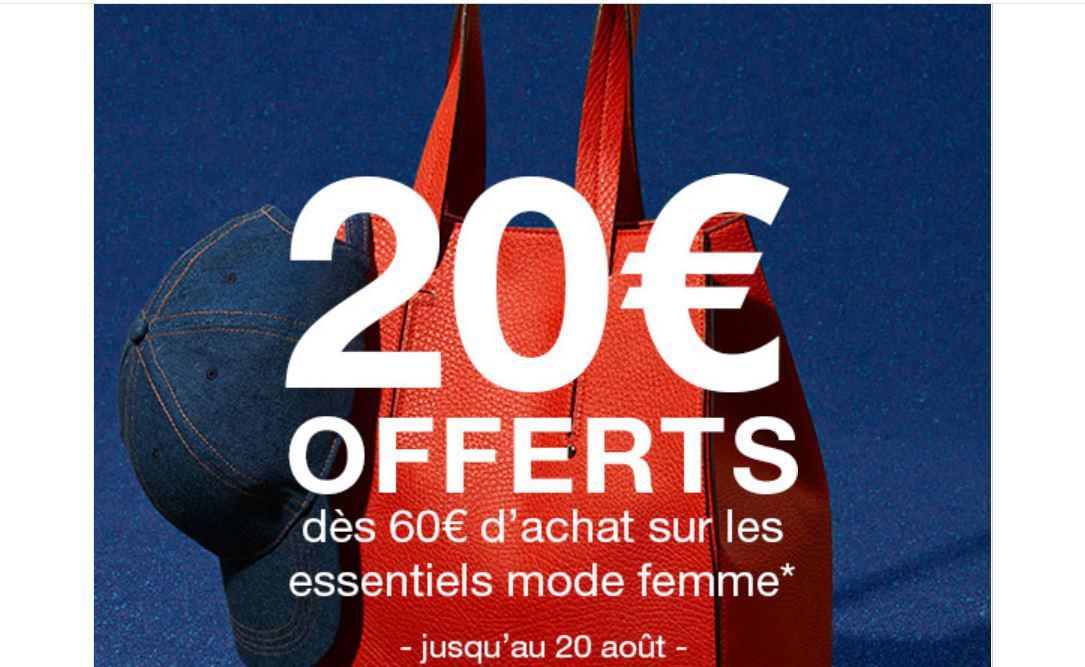 20€ de réduction dès 60€ d'achats sur la sélection des essentiels modes femme