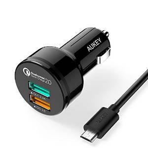 Chargeur Voiture Adaptateur Allume-Cigare 30W 2 Ports USB avec câble - Aukey