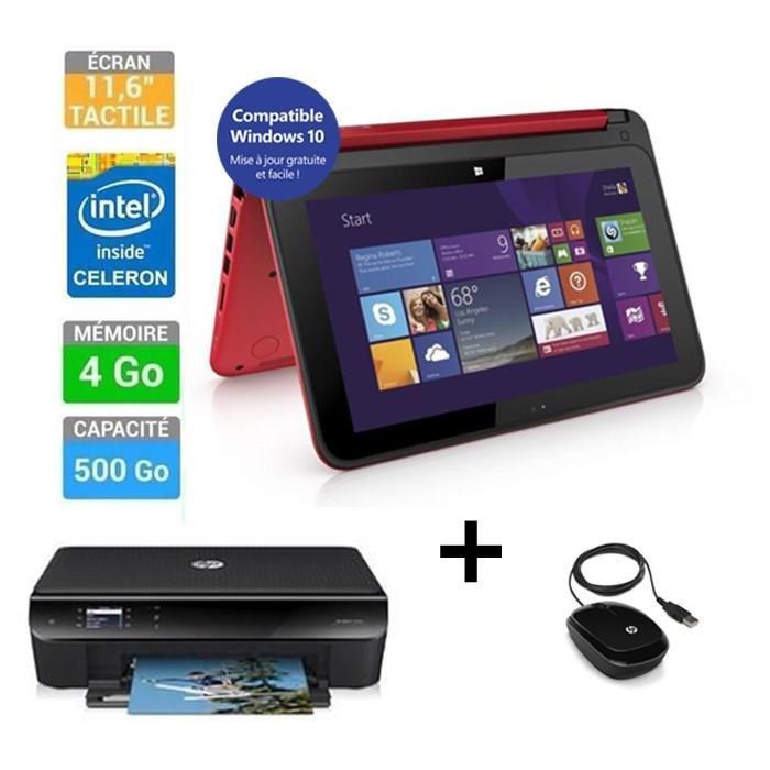 """PC portable 11.6"""" tactile  HP Pavilion x360 + Imprimante HP Envy 4503 + HP souris X1200 (ODR 100€)"""