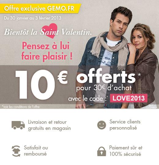 10€ de réduction dès 30€ d'achats