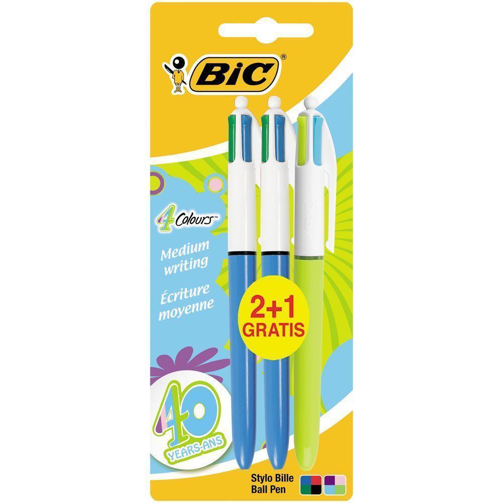 [Panier plus] Lot 3 stylos 4 couleurs Bic (écriture moyenne)