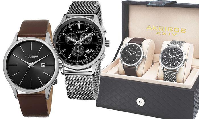 Coffret 2 montres prestige Akribos XXIV, 1 modèle Sport Chrono et 1 modèle Business cuir