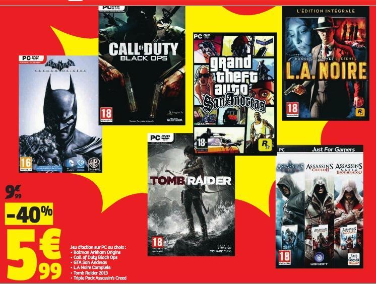 Sélection de jeux sur PC (Batman Arkham Origins, Tomb Raider, etc)