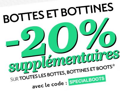 -20% de réduction supplémentaires sur toutes les Bottes, Bottines et Boots