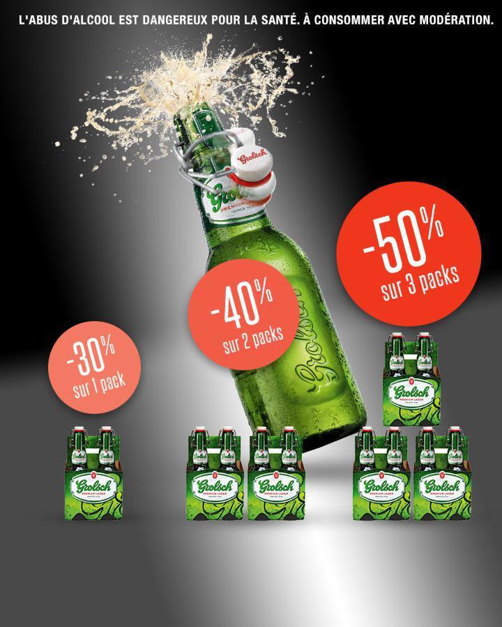 3 packs de bières Grolsch 6x25CL à 6.09€ ou 3 packs de 4x45cl