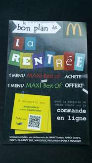 1 menu Maxi Best-of acheté = 1 menu Maxi Best-of offert