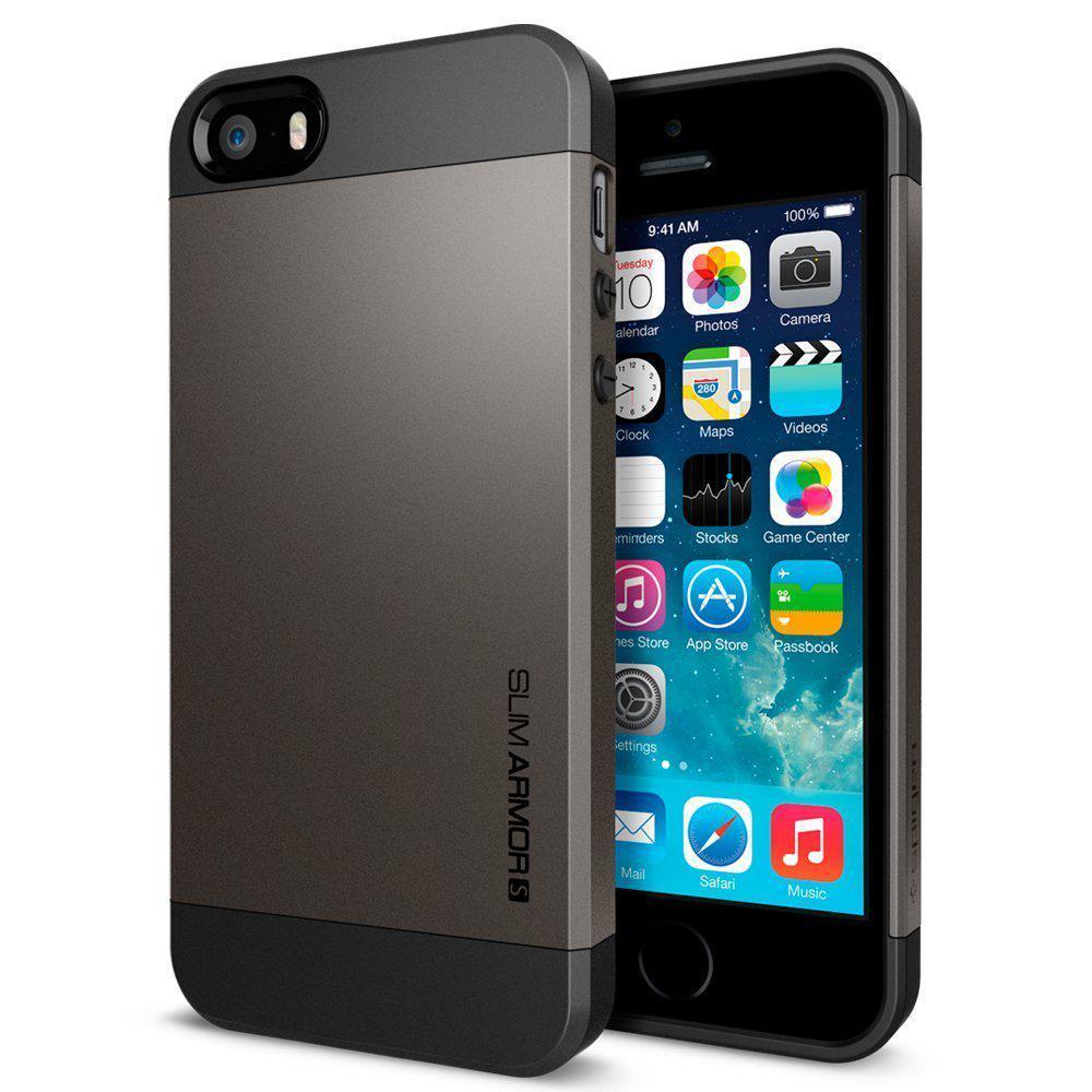 Coque Iphone 5/5S Spigen Slim Armor S Gris Metal