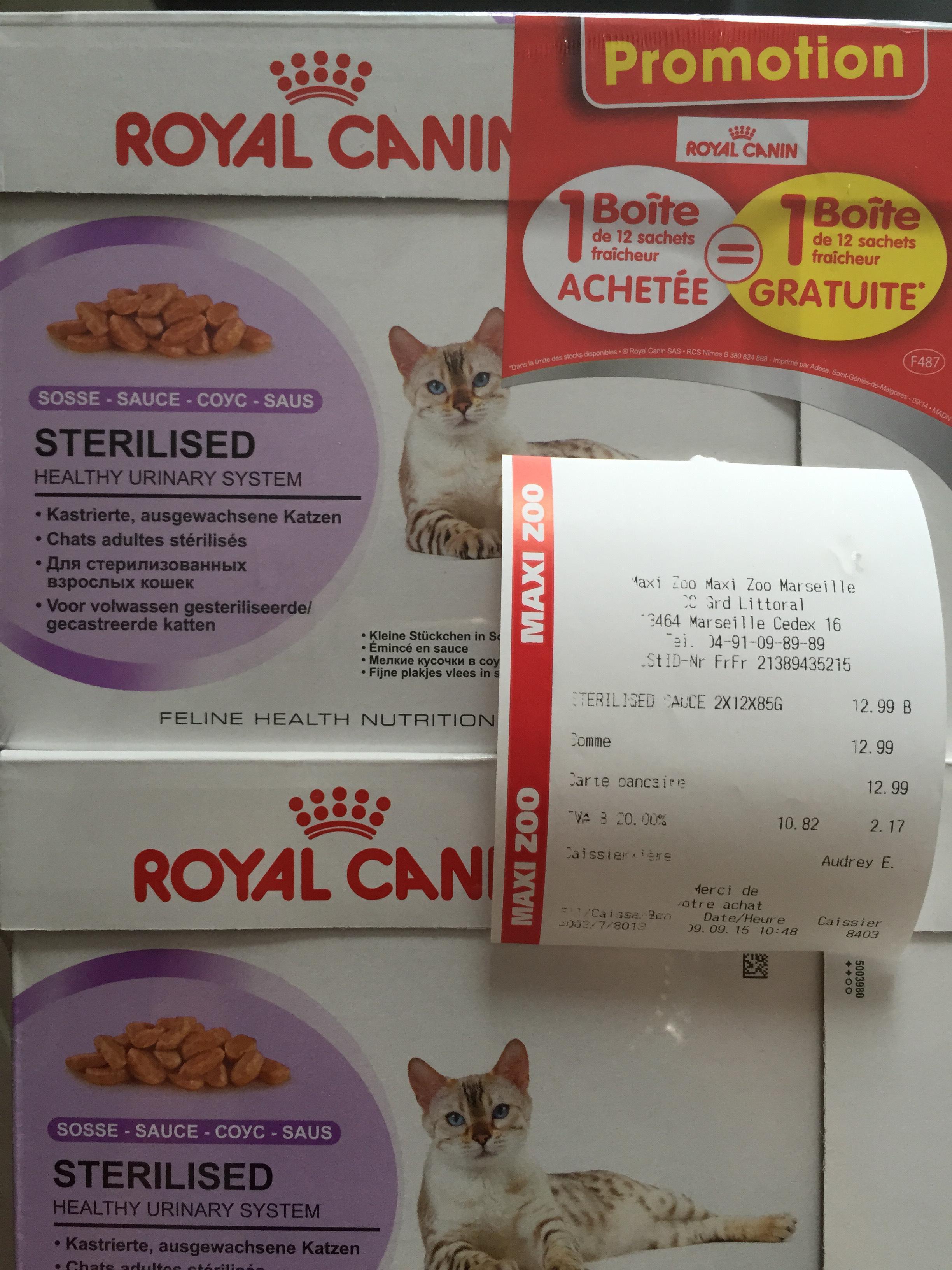 2 boîtes de 12 sachets alimentaires pour chat Royal Canin
