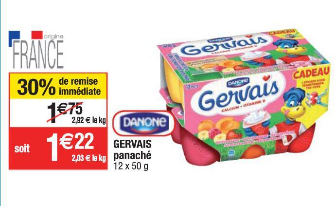 Pack de 12 pots Gervais aux fruits Danone (via bon de réduction + remise immédiate)