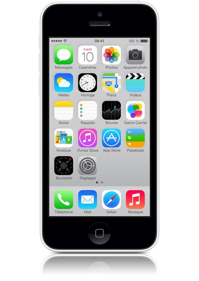 Smartphone Appe iPhone 5C 8Go (100€ sur la carte Wahoo) avec Forfait Starter 1Go engagement 24 mois