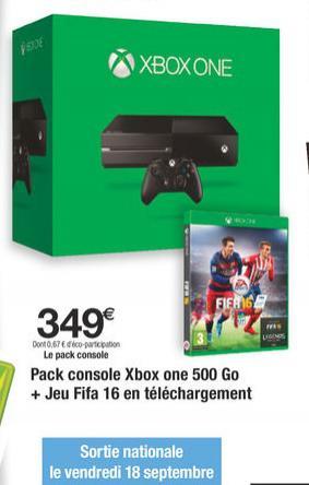 Console Microsoft Xbox One avec le jeu Fifa  16