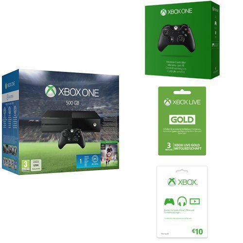 Console Xbox One 500Go + Fifa 16 + 2ème Manette + 3 mois Xbox Live Gold + 10€ de crédit
