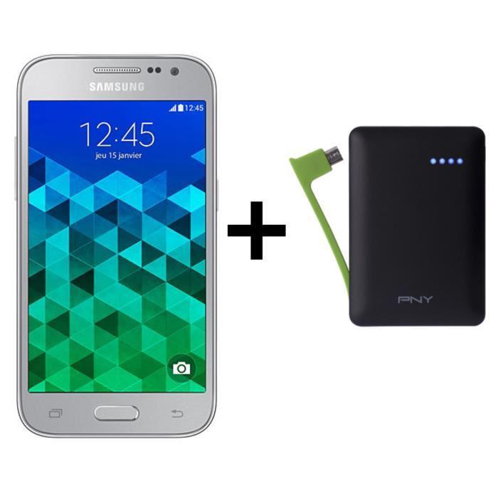 "Smartphone 4.5"" Samsung Galaxy Core Prime VE Silver + Batterie externe PNY PowerPack M3000 (avec ODR 30€)"
