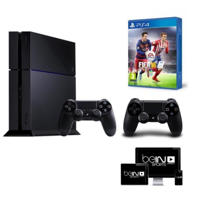 Console PS4 1 To Nouveau modèle (CUH-1216B) + FIFA 16 + 2 mois d'abonnement Bein Sports ou 500 Go Noire (CUH-1116A) + God of War III + PES 2016 + PS TV