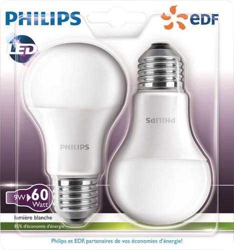 Lot 2 Ampoules Philips Led E27 60W