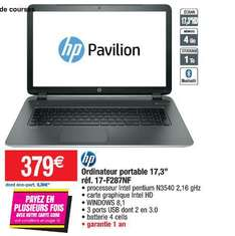 "PC portable 17.3"" HP 17-F287NF (Pentium N3540 , 4 Go RAM, 1 To)"