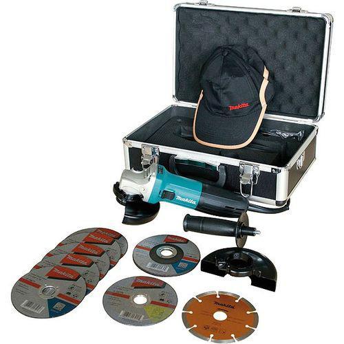 Coffret meuleuse makita diam125mm avec 9 disques