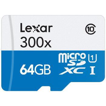 Carte mémoire  MicroSDXC Classe 10 Lexar 64 Go 300x (45Mo/s) + Adaptateur SD
